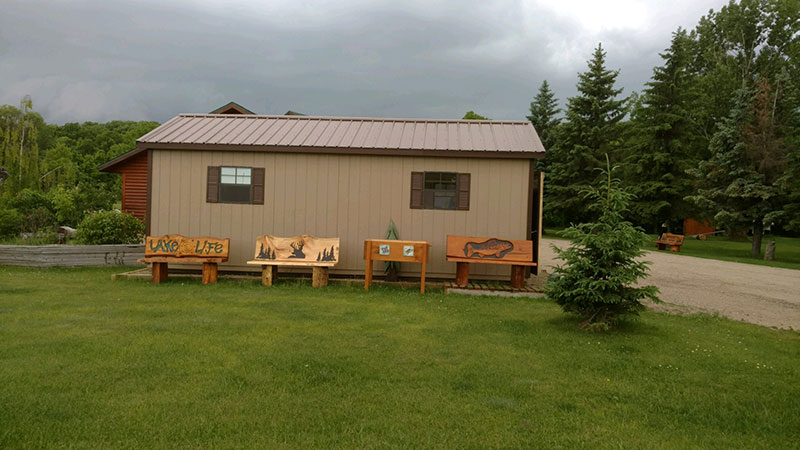 Chainsaw carver studio shed in minnesota