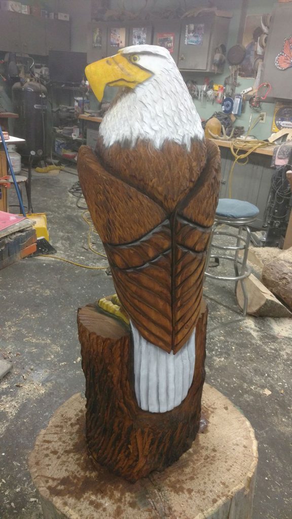 Chainsaw carving eagle in north dakota