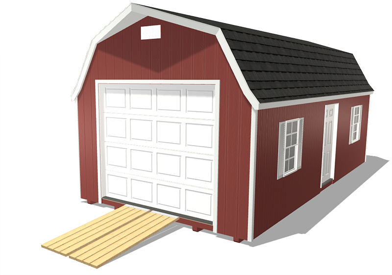 Prefab garage in a barn style storage shed