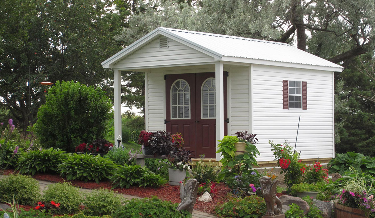 Vinyl cabin shed with porch for sale