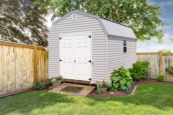 Vinyl high barn shed for home studio shed