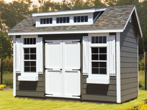 Outdoor shed with wood siding