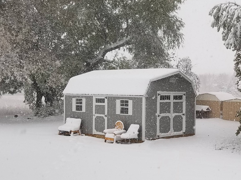 High barn shed in snow