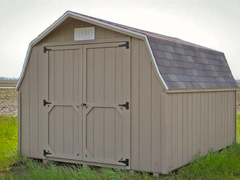 Low barn shed with wood paneling for sale