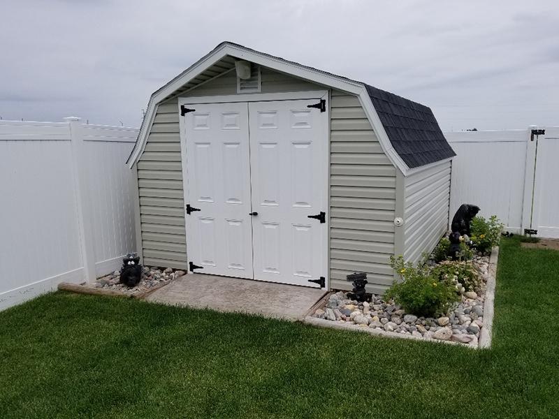Low barn storage shed