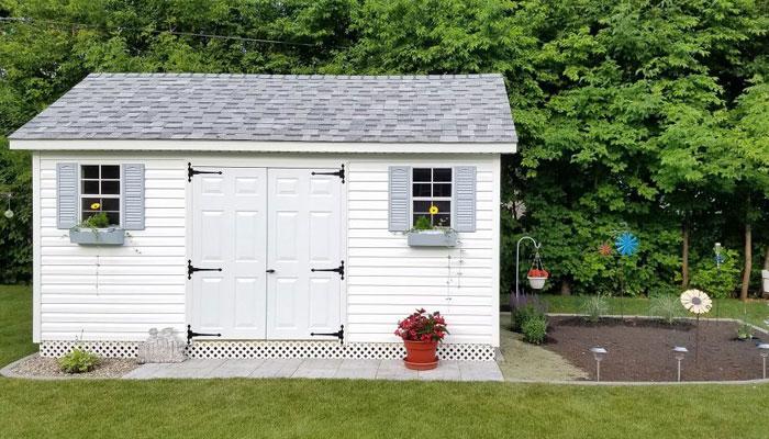 Backyard vinyl shed
